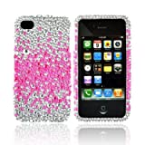 iPhone 4S 4 Hot Pink Splash Silver Bling Hard Plastic Case (1 Pc.) Picture