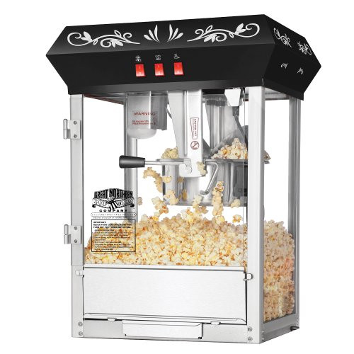 Great Northern Popcorn Black 8 oz. Ounce Foundation Movie Theater Style Popcorn Machine Top Old Antique Carnival Glass