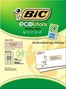 BIC ECOlutions Print and Peel Mailing Labels, 1 x 2.63 Inches, Natural Tan, 30 labels per sheet (30 sheets)