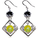 Dangle Earrings - Black Crystal & Yellow Bead Green Accent Dangling in the Center.
