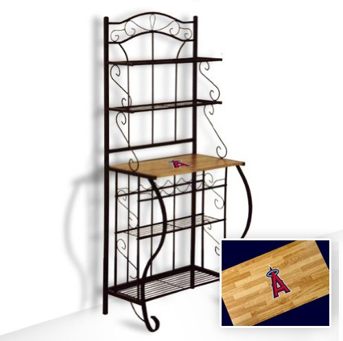New Black Metal Finish Bakers Rack With Oak Finish Wooden Shelf Featuring Anaheim Angels Mlb Team Logo Also Includes Free Oven Mit!