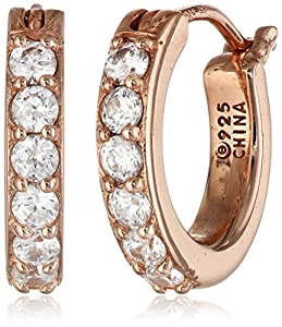 Plated Sterling Silver Swarovski Zirconia 1/2-Inch Round Hoop Earrings from Amazon Curated Collection