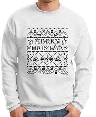 Ugly Christmas Sweater For Dental Hygenists Premium Crewneck Sweatshirt Medium White