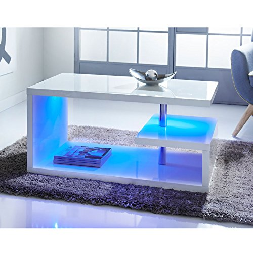 Alaska qualità Design moderno bianco laccato tavolino da caffè con luci LED blu