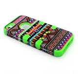 3 in 1 Hybrid High Impact Hard Aztec Tribal Pattern Silicone iphone 5 5G Armor Defender Case Cover + Screen Protector (Green)