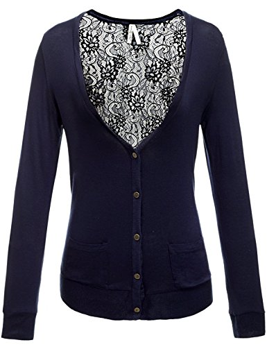 Button Front V-Neck Long Sleeve Lace Sexy Back Cardigans
