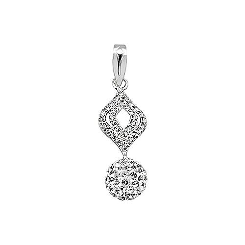 18k white gold pendant oval zircons multipiedra 8mm ball [AA4613]
