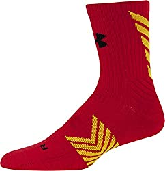 Under Armour Men's Undeniable Mid Crew Socks, Red/Taxi Yellow, Medium