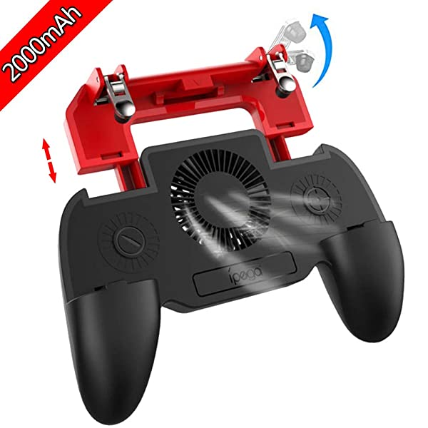 ipega Game Controller with 2000mAh Power Bank and Cooling Fan, PUBG Mobile Controller Gamepad L1 R1 Aim and Shoot Trigger, Joystick Remote Grip for 4.5-6.5 iPhone Android iOS Phone Accessories