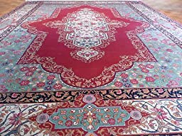 9 x 12 HAND KNOTTED RED FINE KRMAN DESIGN RUG 300 KPSI G201
