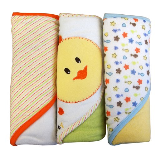 Kidiway Hooded Towels, Duck, 3 Count