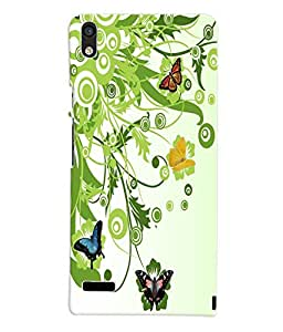 Fuson 3D Printed ButterFly Wallpaper Designer Back Case Cover for Huawei Ascend P6 - D815
