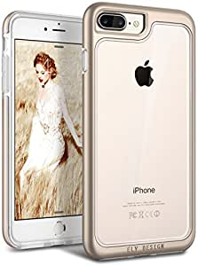 E Lv Shock Absorption / High Impact Resistant Full Body Hybrid Armor Protection Defender Clear Case For Apple Iphone 7 Plus - (Gold)