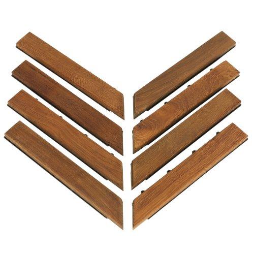 Bare Decor EZ-Floor Corner Trim Piece Interlocking Flooring in Solid Teak Wood (Set of 8), Oiled Finish (Removable Tile Floor compare prices)