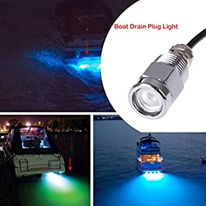 "Azul marino Cree LED Luz subacuática (IP68 a prueba de agua Conector 6 LED 1/2 ""NPT 12V 9W), Barco NetBoat iluminación LED Enchufe para la pesca de buceo Natación, Embarcación a motor Yate de iluminación Drain"