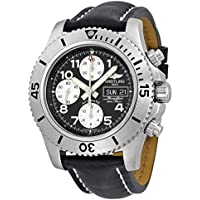 Breitling Superocean Chronograph Steelfish Automatic Black Dial Black Leather Mens Watch