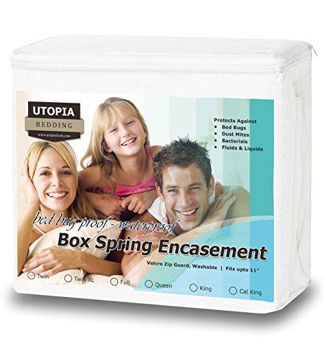 New Premium Bed Bug Proof Box Spring Encasement - Waterproof Zippered Box Spring Cover - Ultimate Pr...