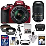 Nikon D3200 Digital SLR Camera & 18-55mm G VR DX AF-S Zoom Lens (Red) + 55-300mm VR Lens + 32GB Card + Case + Filters + Tripod + Telephoto & Wide-Angle Lens Kit