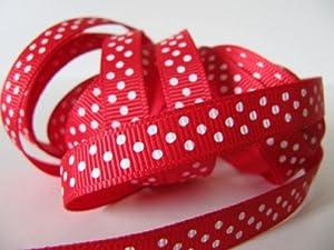 5M x 10mm micro polka dot grosgrain ribbon - white on red