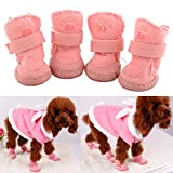 4Pcs Lovely Warm Adjustable Pet Dog Puppy Winter Cotton Anti-slip Snow Cozy Shoes Boots (Pink, Small)