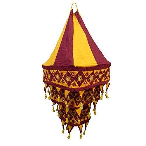 paralume-lanterna-a-tre-lande-70cm-aranione-rosso-quadrato-tessuto-indiano-mano-dopera-dindia