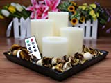 Flameless Candles; LED Candles with Remote Control, Pillar Real Wax Candles, 3-inch, 4-inch, 5-inch and 6-inch Candles Set of 4 (ROUND EDGE)