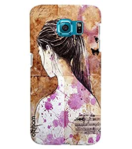 Omnam Girl Emotions Of Society Painted With Purple Effects Printed Designer Back Cover Case For Samsung Galaxy S6 EDGE
