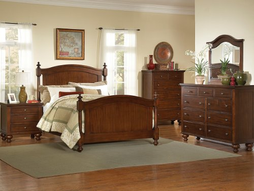 Aris 5 Pc Eastern King Bedroom Set With 2 Nightstand By Home Elegance In Brown Cherry front-777865