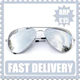 Unisex Silver Mirror Aviator Metal Sunglasses - UV400 Protection - Full Mirrored Lenses - Retro Designer Style - One Size Fits All by ICEBRITE©