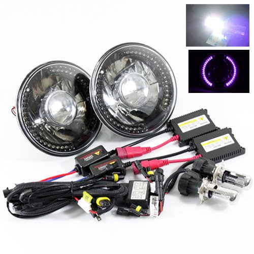 """6000K Pure White Bi-Xenon Slim Hid/7"""" Round 6014/6015/6024 Black Crystal Projector Headlights With Purple Led Ring"""