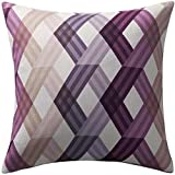 twopages Rose Striped Pattern Polyester Decorative Pillow Cover 18 Inches Square