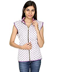 Rajrang Womens Cotton Jacket -Purple, White -X-Large