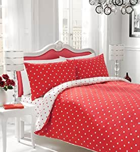 polka dot housse de couette et taies d 39 oreiller reversibles lit lit double pois rouges. Black Bedroom Furniture Sets. Home Design Ideas