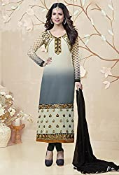 Sublime Cream and Grey Semi Stitched Suit Material