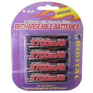 Lenmar AA NiMH Rechargeable Batteries, 8 Pack - 1.2 V, 2700 mAh