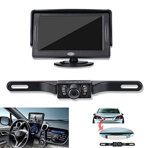 Backup Camera and Monitor Kit For Car,Universal Waterproof Rear-view License Plate Car Rear Backup Camera + 4.3 LCD Rear View Monitor (Camera Car Reverse compare prices)