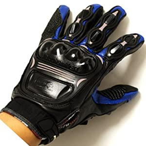 Motorcycle Motocross Racing ATV Dirt Bike Leather Gloves Blue from Power Gear Motorsports