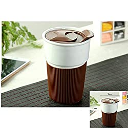 New Outdoor Sport Non Slip Ceramic Instant Coffee Mug Cups Burn Proof Insulation 350ML Capacity for Milk Tea Coffee Brown 350ML