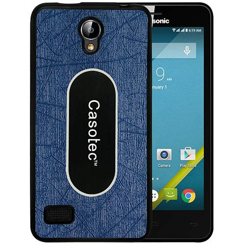 Casotec Metal Back TPU Back Case Cover for Panasonic T45 4G - Dark Blue  available at amazon for Rs.199