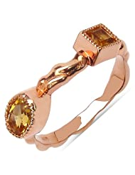 0.65CTW Genuine Citrine 14K Rose Gold Plated .925 Sterling Silver Ring