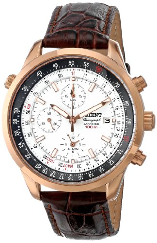 Orient Men's CTD09005W Chronograph with Rose Gold Tone with Date and Internal Rotating Ring with Slide Rule Calculator White Watch