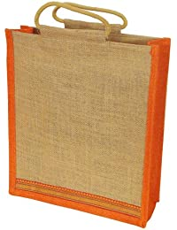 Grehom Gift Bag Large - Orange Zari; Beautiful Jute Bag With Embroidered Border; Made Of Eco-friendly Jute