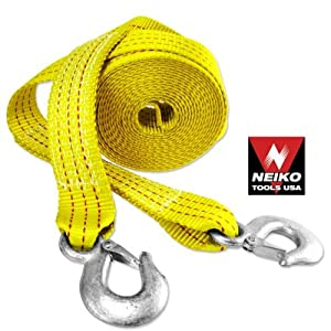 Neiko 20' Ft Heavy Duty 10,000 Lb Tow Strap with Hook