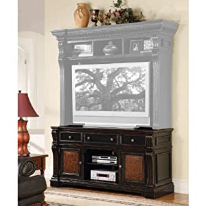 Hooker furniture telluride 71 entertainment console w leather panels home Home theater furniture amazon