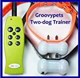 New Gen Groovypets Rechargeable Remote Control Training Shock Collar with Separate Shock and Vibration Corrections for 2 Small,Medium, and Large Dogs-ONLY from Groovypets!