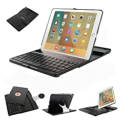 iPad Pro 9.7 Keyboard Case,Dingrich Premium 360 Degree Rotating Stylish Folio Built in Stand Bluetooth Keyboard Case for iPad Pro 9.7 + Screen Protector + Stylus (Black)