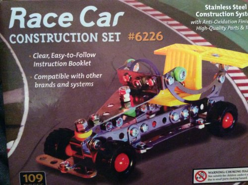 Race Car Stainless Steel Construction Set - 108 pieces
