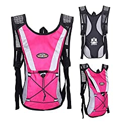 Perman Bike Water Bladder Bag Sports Backpack Cycling Hydration Pack Riding Hiking Camping Hot Pink