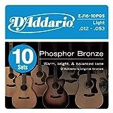 D'Addario EJ16-10P Phosphor Bronze Acoustic Guitar Strings, Light, 12-53, 10 Sets, Frustration-Free Packaging
