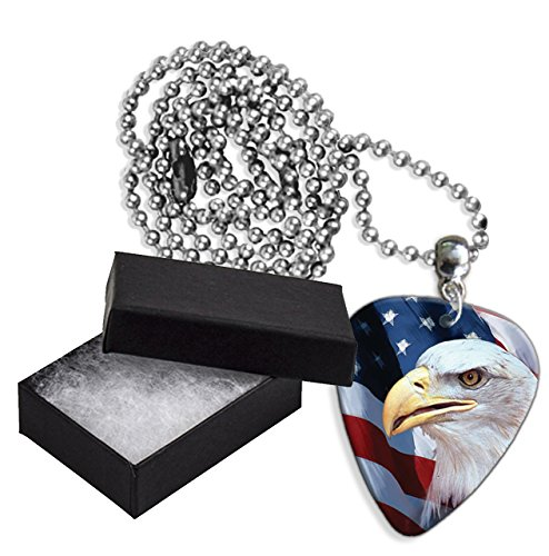 American Us Bald Eagle Boxed Metal Chitarra Pick Necklace Collana (GD)
